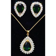 Emerald and CZ studded gold plated pendent set  - Online Shopping for Necklaces by Ami Designs