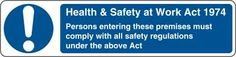 Health & safety at work act 1974 persons entering these...£0.99 #signs #mandatory