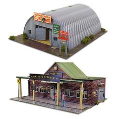 1:87 HO Scale Kit Quonset Hut & Train Station Photo Real Diorama Scenery Sets