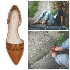 Genuine leather d'Orsay flats with laser cut detail and slip-on ease. Designed for all-day comfort.