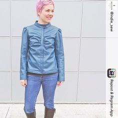 @sherrisylvester shares her cool Marmalade jacket with faux leather! via @indie_sew #sewing #wafflepatterns #naaien