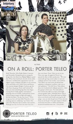 Interiors Dallas magazine featuring the duo behind Porter Teleo.