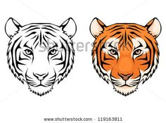 line drawing of tiger face