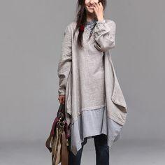 fashion linen loose blouse shirt long sleeve capri skirt by Aolo