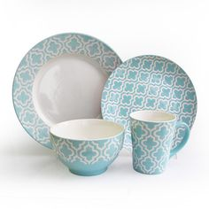 American Atelier Quatre Teal 16-piece Dinnerware Set | Overstock.com Shopping - Great Deals on American Atelier Casual Dinnerware