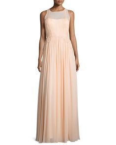 Penelope Sleeveless A-Line Gown, Palest Pink - Donna Morgan