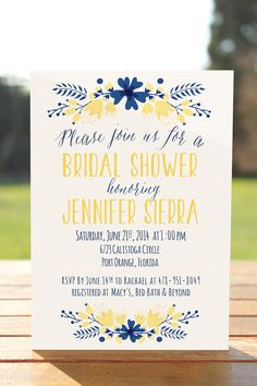 Navy and yellow bridal shower invitation by OnlyPrintableArts, $15.00