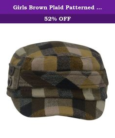 Girls Brown Plaid Patterned Button Narrow Brim Tweed Hat Cap. Ideal cold weather item this tweed cap hat is the perfect choice for a smart or casual wear. Brown plaid patterned hat features button adornment and a narrow brim. It will beautifully complement the cold season outfits and keep her head warm and comfy.