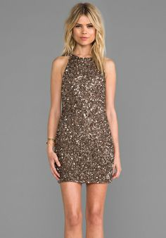 PARKER Audrey Sequin Dress in Taupe at Revolve Clothing - Free Shipping!