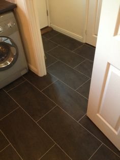 Polyflor Colonia Welsh Raven Slate with an Ice Grout Strip-Mudroom?
