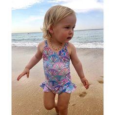 Hapae Baby Girls Swimsuits All-in-One Bathing Suit Cartoon Printing Swimwear Newborn Baby Sleeveless Bikini Enfant Ice Cream Printed Beach Costume