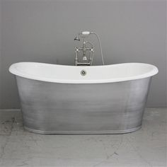 """The Pershore68 68"""" Brushed and Lacquered Aluminum Exterior Finish Vintage Designer Cast Iron French Bateau Tub Package"""