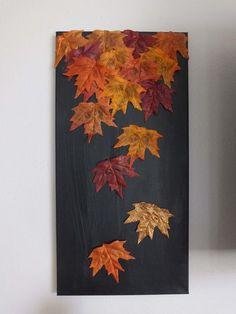 DIY: Fall Leaf Canvas Designing for less Fall diy, Fall canvas diy fall leaf crafts - Diy Fall Crafts Autumn Leaves Craft, Autumn Crafts, Fall Wood Crafts, Fall Home Decor, Autumn Home, Diy Autumn, Leaf Crafts, Creation Deco, Ideias Diy