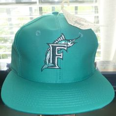 Florida Marlins MLB Baseball Vintage 90's Teal Front Row Snapback Hat Cap NWT #FrontRow #FloridaMarlins Orange Park, Hats For Sale, Snapback Hats, Mlb, The Row, Online Price, Teal, Florida