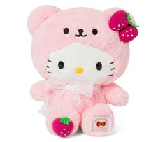 Snuggle up to this supercute Hello Kitty doll dressed up in a strawberry outfit! This outfit is adorable, making this plush the perfect, personable gift! Sanrio Hello Kitty, Peluche Hello Kitty, Hello Kitty Gifts, Hello Kitty Plush, Hello Kitty Products, Hello Kitty Things, Pink Hello Kitty, Stuffed Animal Cat, Cute Stuffed Animals