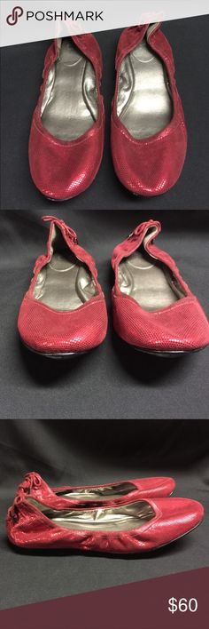 Cole Haan Sparkle Red Ballet Flats Nike Air 9 Med Cole Haan Sparkle Red Ballet Flats Maria Shaapova Nike Air  Womens Sz. 9 Med Sparkle red color Very soft leather Beautiful lace up design at the heel Rubber non-slip sole in excellent condition  They look hardly worn.  Minor scuffs on the soles.  See pics! Cole Haan Shoes Flats & Loafers