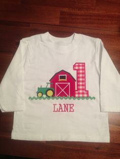 """Farm themed First birthday shirt. """"Like"""" our Facebook page for more items! Sew Southern Stitches"""