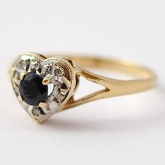 Vintage Promise Ring Sapphire, Diamonds & 9K Gold Retro Heart Engagement Size 6.5 / 6.75 on Etsy, $365.00