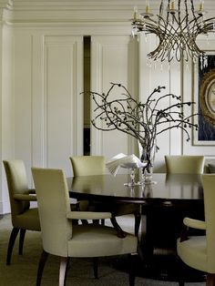 Barbara Barry and Kravet - Piedmont, California residence. My dream dinning room Best Interior Design, Interior Decorating, Dining Room Design, Dining Rooms, Dining Table, Dining Set, Dining Chairs, Chandelier, Traditional House