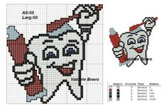 Profissão- dentista - dente Beading Patterns, Embroidery Patterns, Cross Stitch Patterns, Medical Symbols, Charts And Graphs, Pattern Pictures, Peyote Beading, Tooth Fairy, Perler Beads
