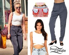 Perrie was out and about in London with her bandmates yesterday wearing a Missguided Latrecia Sleeveless Bandage Waist Crop Top ($16.64), a pair of American Apparel Micro-Poly High-Waist Pleated Pants ($39.00) in Stone and her Urban Outfitters Ecote Pom Pom Ethnic Backpack (sold out). You can get a similar Ecote backpack from Urban Outfitters ($12.99).