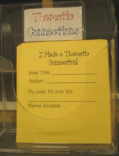 K.RL.2: Cute idea for teaching themes. Students can post these under different theme posters around the room