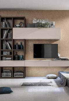 Easy Living - In House Designs - Kitchen Furniture - Wardrobes - Doors - Accessories - Patra Living Room Built Ins, Living Tv, Living Room Wall Units, Living Room Modern, Living Room Designs, Tv Wall Design, House Design, Room Decor Bedroom, Living Room Decor