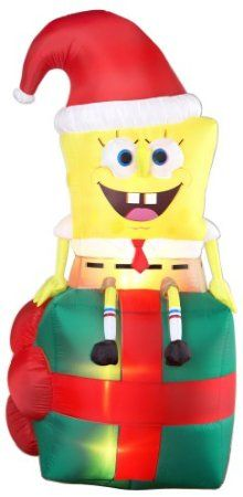 spongebob squarepants sitting on gift christmas inflatable spongebob christmas christmas inflatables thanksgiving wishes - Outdoor Christmas Inflatables