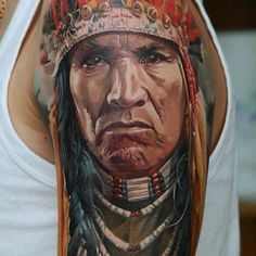 Sick shoulder piece of a traditional Native American man by Dmitriy Samohin  #tattoos #tattoo #ink #art #hookedontattoos