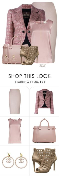 """Pink for Fall"" by talvadh ❤ liked on Polyvore featuring Miss Selfridge, Roberto Cavalli, Reiss, Burberry, Chanel, Charles by Charles David and Lana"