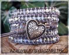 Heart Bracelet Leather Bracelet Wrap by AZJEWELRYBYELIZABETH