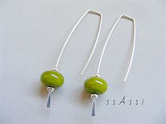 From the ssAssi studio 'long & lovely' collection - Argentium Sterling Silver & avocado green glass bead earrings - only $19AUD including postage