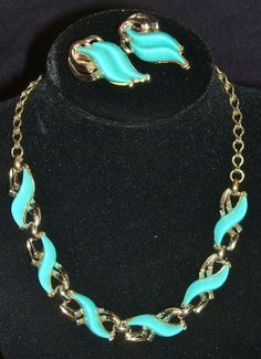 50's Thermoset Mid-century Gold tone Turquoise Necklace Earrings Set Mid Century Acrylic Early Plastic Aqua Blue Choker / Clip On Earrings by EclecticJewells on Etsy