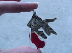 Fish Pendant Fused Glass Pendant Repurposed by FancyThatFusion, $18.00