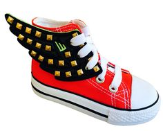 Shwings wings for kids' shoes in patterns like studded black square nail lace