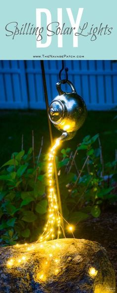 DIY Spilling Solar Lights Teapot Lights Easy, budget friendly and one of a kind DIY backyard ornament and landscape lights Upcycled teapot Step-by-step tutorial for DIY spilling solar lights Teapot solar lights DIY whimsical garden lights Be Backyard Lighting, Outdoor Lighting, Outdoor Decor, Lighting Ideas, Outdoor Ideas, Patio Ideas, Wedding Lighting, Exterior Lighting, Backyard Ideas