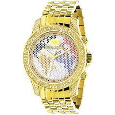 Show your worldly side with this blinged out Luxerman world map watch. Crafted of yellow goldplated metal, this watch features 1/2 carat multi-colored diamonds on the dial detailing the map while the watch runs on a handy Japanese quartz movement.