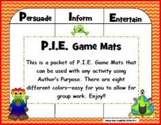 This is a packet of P.I.E. Game Mats that can be used with any activity using Author's Purpose. There are eight different colors—easy for you to allow for group work. Enjoy!! Author's Purpose Game Mats is licensed under a Creative Commons Attribution-NonCommercial-NoDerivs 3.0 Unported License.