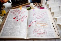Bridal Guide - Creative Guest Book Ideas // For lovers of words, transform a dictionary into a guest book by asking your friends and family to choose a word that makes them think of you, and leave a message using it. You'll love the surprising words you'll find throughout.