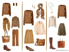 Camel, or another permutation, cinnamon, go so well for the fall and winter months. Can be combined with so many colors. LmC................ three capsule wardrobe outfits with a cinnamon cardigan