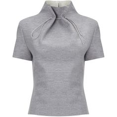 J. JS. Lee Grey Wool Gathered Neck Top (€445) ❤ liked on Polyvore featuring tops, grey, fitted tops, ruched top, gathered top, rouched top and grey top