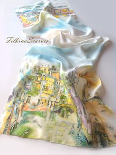 SALE Bridge in Venice Silk Scarf Hand Painted Scarf Silk Chiffon Green Blue Magenta Urbanscape Art Scarf Batik Silk Painting Birthday Gift Silk Satin Fabric, Silk Chiffon, Painted Silk, Hand Painted, Scarf Packaging, Groomsmen Looks, Silk Art, Scarf Design, Contours