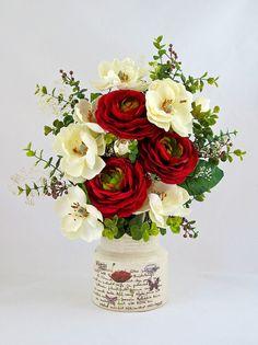 40 best flower arrangements images on pinterest silk flowers silk silk flower arrangement with red ranuculus and ivory magnolias in a ceramic ivory pot artificial floral arrangement mightylinksfo