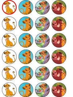 24 X LION KING PARTY BIRTHDAY RICE PAPER CAKE TOPPERS
