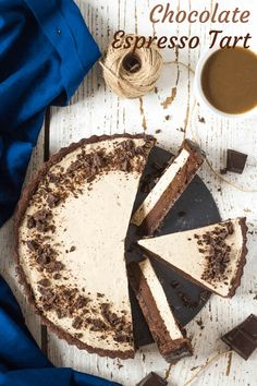 Chocolate Espresso Tart Tart made with cocoa kneaded dough, baked dark chocolate ganache and espresso coffee mousse Winter Desserts, Great Desserts, Best Dessert Recipes, Sweet Recipes, Delicious Desserts, Cake Recipes, Funnel Cakes, Biscotti, Sorbet