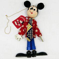 ★DKG★ディズニー Walt Disney ミッキー マリオネット こけし 年代物 当時物_画像1