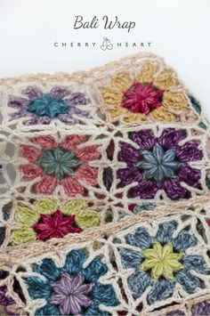 Cherry Heart Pattern: Bali Wrap now out. A pretty floral wrap or scarf inspired by the Islands of Indonesia. Crochet Wrap Pattern, Granny Square Crochet Pattern, Crochet Flower Patterns, Crochet Squares, Love Crochet, Crochet Granny, Crochet Motif, Crochet Flowers, Easy Crochet