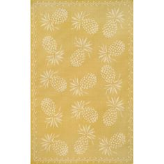 Thatcher Pineapple Yellow/Ivory Rectangular: 4 Ft. 11 In. x 7 Ft. 6 In. Rug