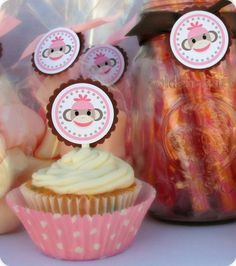 Pink Sock Monkey Cupcake Toppers Monkey First Birthday, Baby Birthday, Birthday Parties, Sock Monkey Cupcakes, Pink Socks, Cupcake Toppers, Monkey Baby, Party Planning, First Birthdays