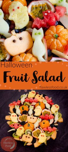 Looking for easy healthy party food ideas for the kids this Halloween? Get the kids involved in making this super cute and fun buffet-style Halloween Fruit Salad, full of fruit including melon & pineapple cut into cat, ghost, bat and pumpkin shaped treats using cookie cutters. Without all the sugar normally associated with Halloween snacks. Free from dairy, egg, nut and gluten, also Vegan and Vegetarian friendly so suitable for all!